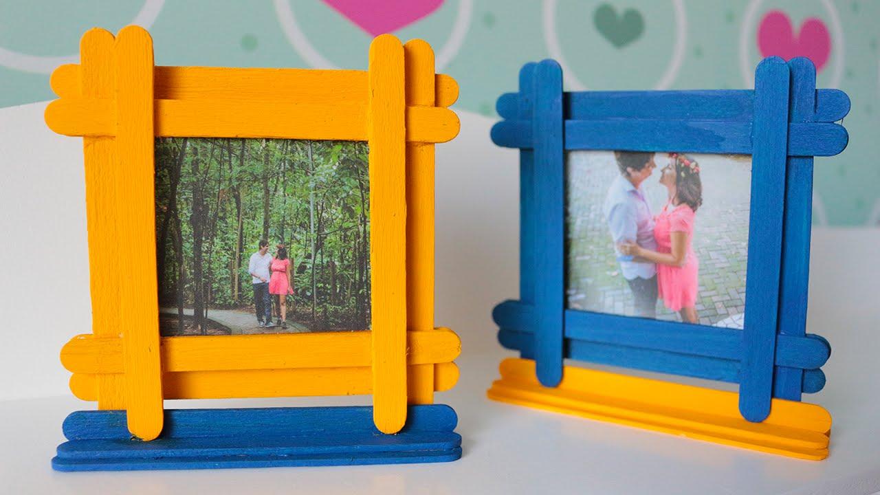 DIY: Porta-retratos com palito de picolé - YouTube