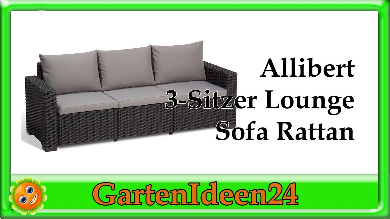 allibert 3 sitzer lounge sofa rattan gartenidee kleines relaxsofa aus rattan f r balkon. Black Bedroom Furniture Sets. Home Design Ideas