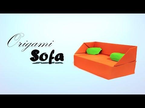 Origami Sofa - How to make a paper Sofa tutorial for beginner & kids? - Origami Furniture Sofa - DIY