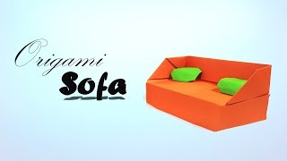 Origami Sofa - How to make a paper Sofa tutorial for beginner & kids? - Origami Furniture Sofa - DIY