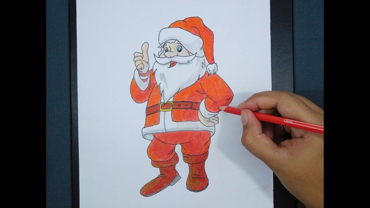 How To Draw Santa Claus Cara Menggambar Sinterklaas Youtube