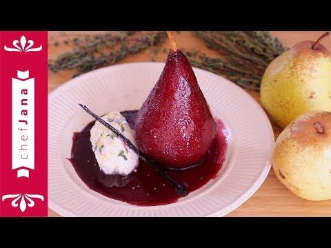 WORLD'S BEST RED WINE POACHED PEARS⎜EASY RECIPE ⎜VEGAN