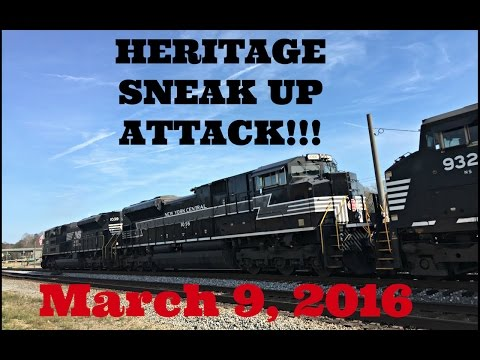 Norfolk Southern - Heritage Sneak Up Attack!!! - March 9, 2016