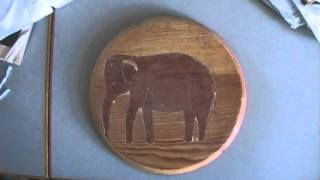 2 Elephant Images (primitive Wood Work / Primitive Intarsia)