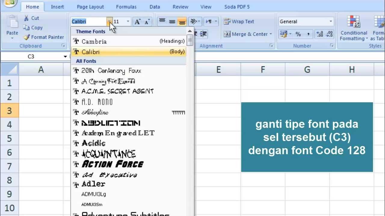 Cara Membuat Barcode dengan Microsoft Excel - YouTube