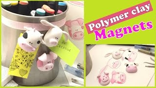 Polymer clay magnets- Pink animals- Tutorial