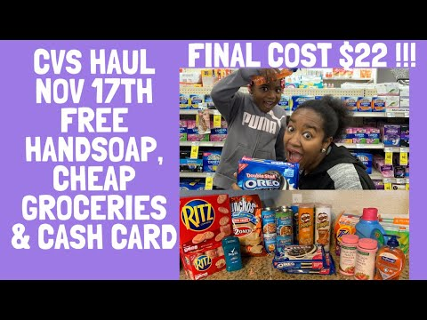 23 items for $22!  Free Hand Soap, Cheap Groceries! & More| CVS Extreme Couponing Haul |Nov 17th!!
