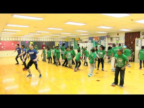 Disney's Newsies cast with students at Elm Creative Arts - YouTube