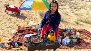أول مرة نفطر في  البر !! First time eating breakfast in desert