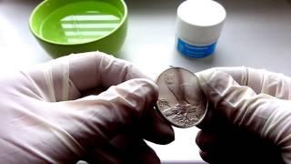 Чистка серебряной монеты Соболь.