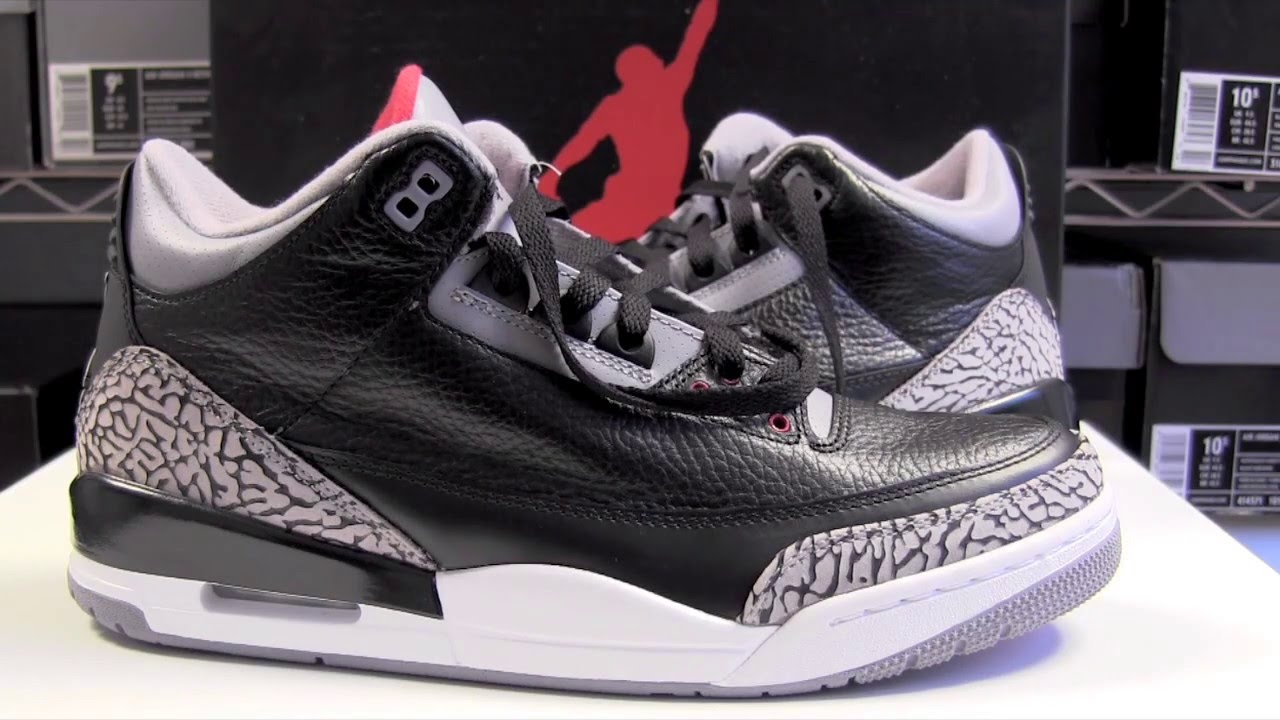 a1204116e1d539 Air Jordan 3 (III) Black Cement 2011 - YouTube