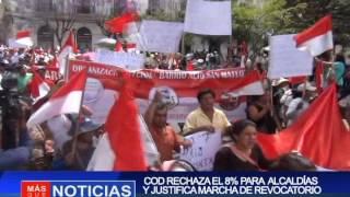 COD RECHAZA EL 8% PARA ALCALDÍAS Y JUSTIFICA MARCHA DE REVOCATORIO