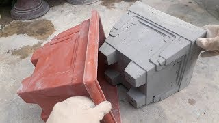 How to make beautiful cement pot at home easily || Flower pot design ideas