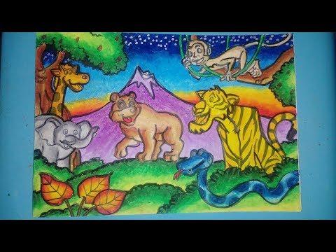 960 Gambar Hewan Dan Tumbuhan Menggunakan Crayon HD