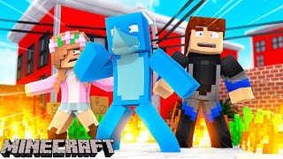 LITTLE KELLY TRAPPED IN A BURNING BUILDING !!! Minecraft w/ Sharky and Scuba Steve