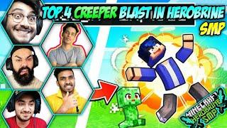 Top 4 funny Creeper Blast in Herobrine smp 🔴 techno gamerz, gamerfleet, rawknee, Andreobee, bixu