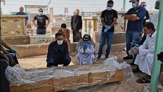 مراسم دفن الشهيد المغدور هشام الهاشمي في مقبرة النجف