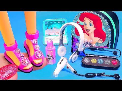 7 DIY Miniature Barbie Hacks and Crafts ~ Ariel backpack, Makeup, Shoes, Hair dryer, Headphones