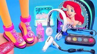 7 DIY Miniature Barbie Hacks and Crafts ~ Ariel backpack, Makeup, Shoes, Hair dryer, Headphones