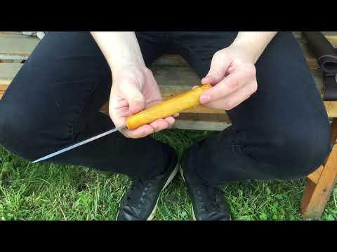 Нож Якут средний из х12мф, рукоять из карельской березы