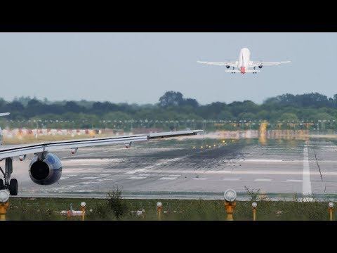 Heavy Traffic at World's second busiest single runway London Gatwick Airport 4K video