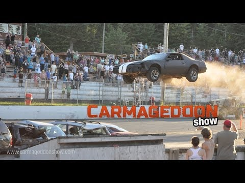 Car Jump ends with crash and roll over at Saratoga Speedway - Carmageddon Show