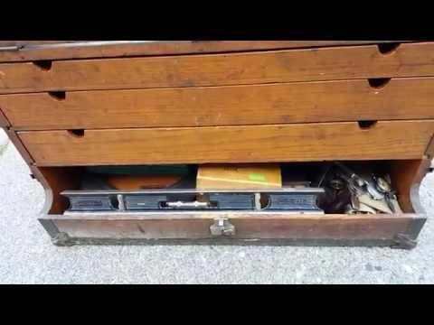Large Antique Master Carpenter Craftsman Tradesman Wood Trunk Chest Tool Box. sold