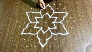 Simple Rangoli Design with 9x5 Dots and Beautiful Colours for Beginners | Easy Daily Kolam