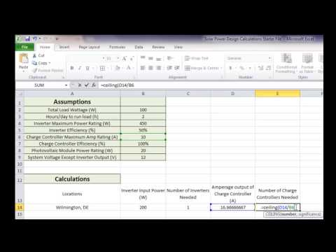 Solar Power Design in Excel