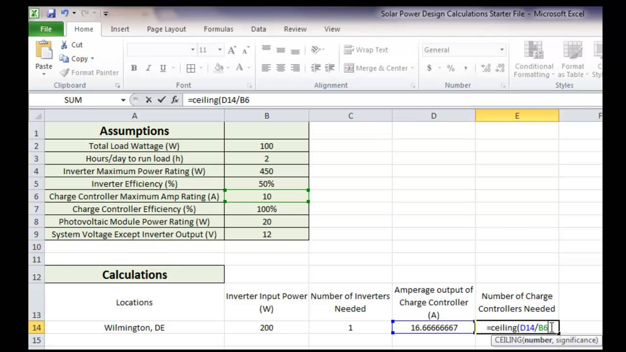 solar power design in excel - youtube