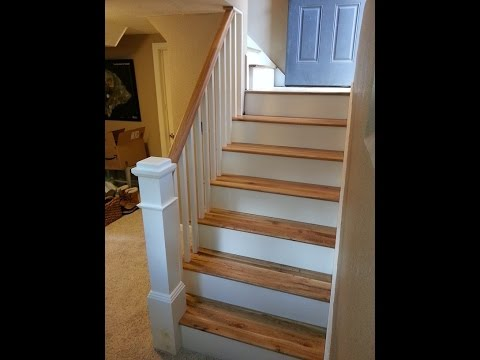 Carpet To Hardwood Stairs The Handyman Youtube   Carpeted Stairs With Wood End Caps   Stair Railing   Waterfall   Diy   Capped   Step