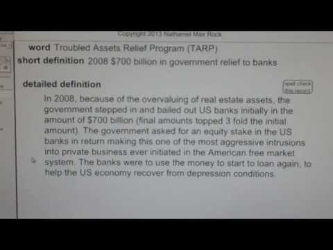 Troubled Assets Relief Program (TARP) CA Real Estate License Exam Top Pass Words VocabUBee.com