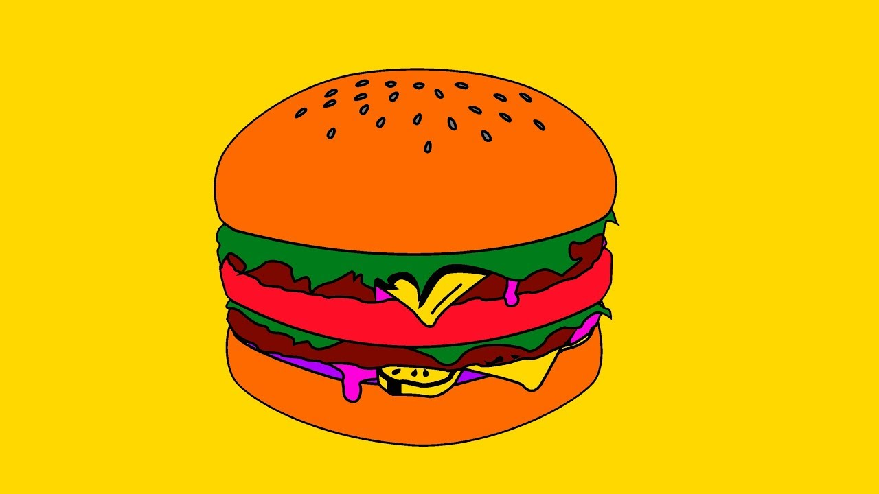 Crazy Hamburger For Kids Coloring Book