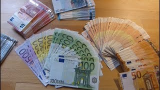 Counting Stack of EURO banknotes