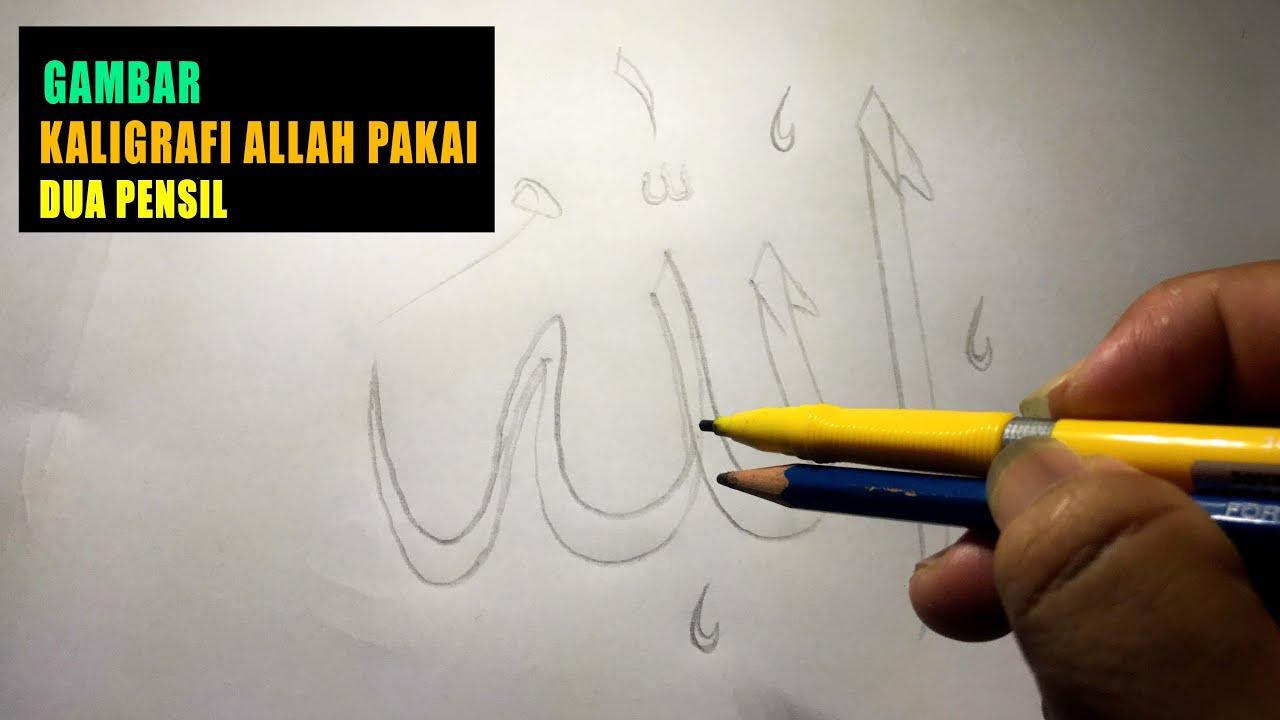 Gambar Kaligrafi Allah Yang Indah Pakai Dua Pensil Oleh Ust Aziz Kurniawan Youtube