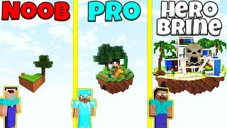 Minecraft Battle: NOOB vs PRO vs HEROBRINE: SECRET SKY ISLAND BUILD CHALLENGE / Animation