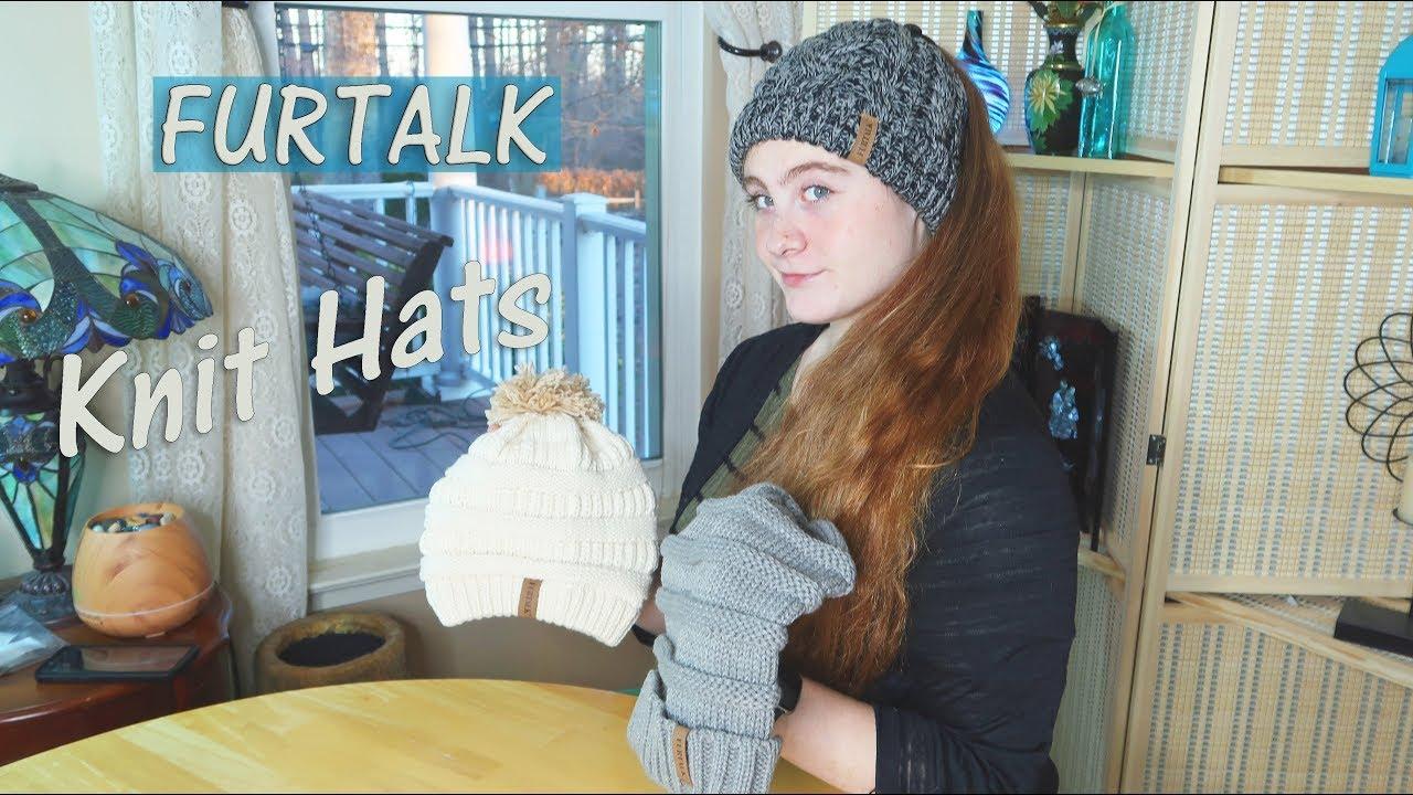 85c5f78a309 FURTALK Hats - Women s Caps 🍀Slouchy Knit Ponytail (  Children s ...