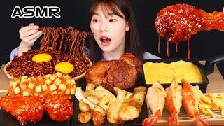 ASMR MUKBANG| 직접 만든 짜짜로니 & 양념치킨 스테이크 치즈 먹방 & 레시피 FRIED CHICKEN AND STEAK EATING