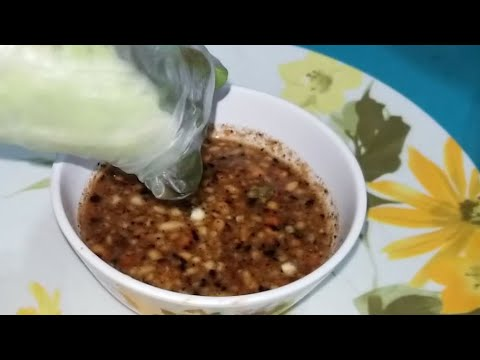 Peanut dipping sauce Laos Style for Spring Rolls How to make.  Not thick Thanksgiving staple for us.