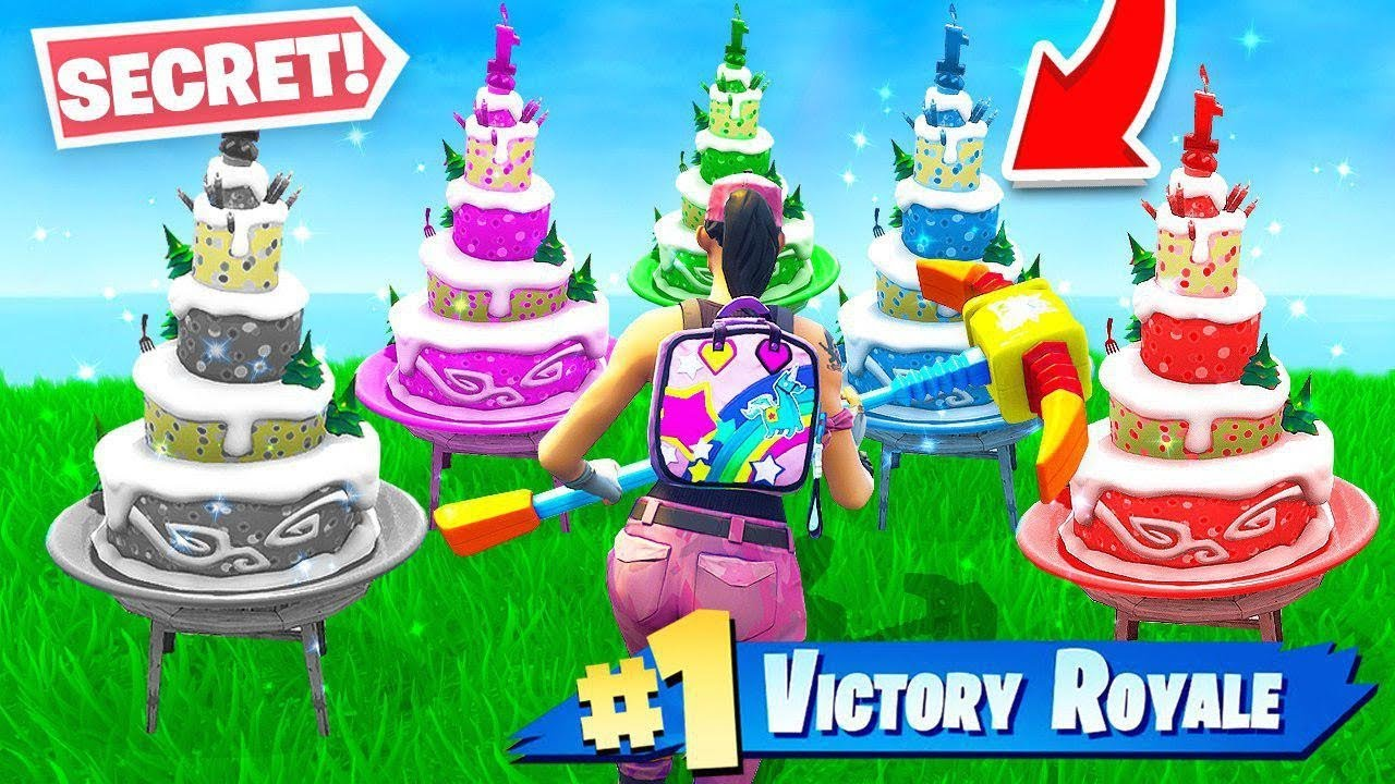 All 10 Fortnite SECRET Birthday Cake Locations NEW Challenges