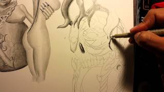 Drawing an hourglass with skull.