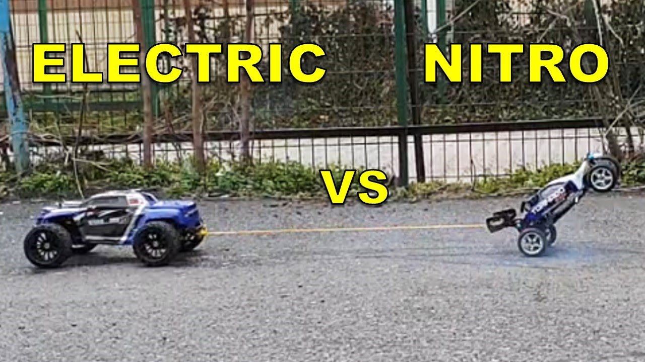 Nitro Rc Car Vs Electric Rc Monster Truck Pull Off