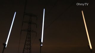 765kV 초고압 송전탑, 밤이 되면...