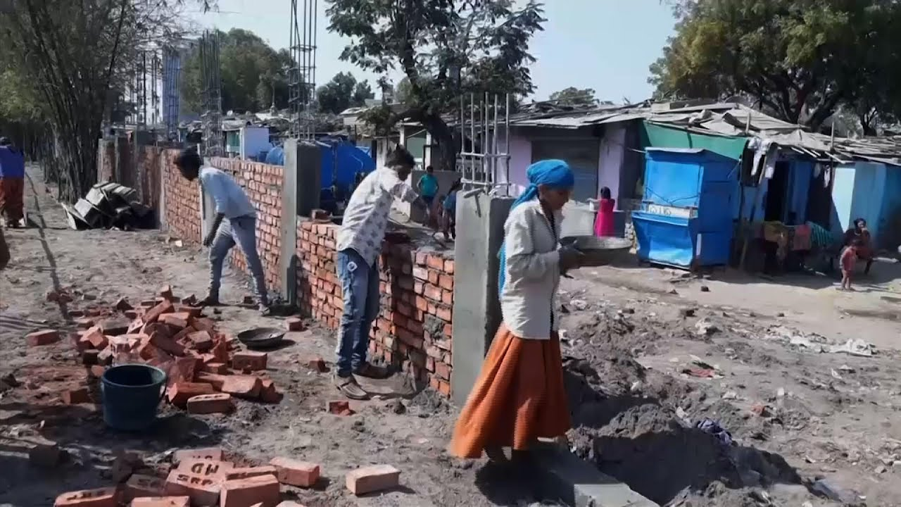 Image result for India Builds Wall To Block Out Slum Areas To Welcome Visiting President Trump