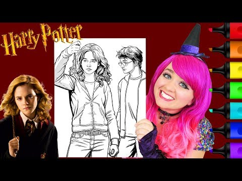coloring-harry-potter-&-hermione-crayola-coloring-page-prismacolor-markers-|-kimmi-the-clown
