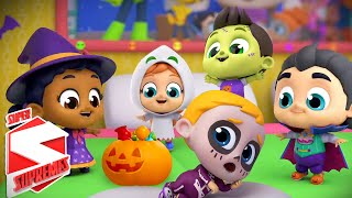 Five Little Monsters | Spooky Nursery Rhymes | Halloween Songs For Kids with Super Supremes