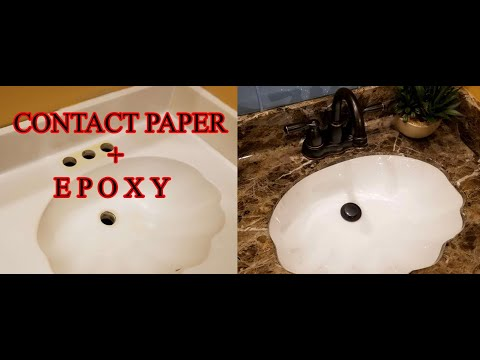Epoxy over contact paper? YES! Countertop with built-in shell sinks transformation under $140. DIY