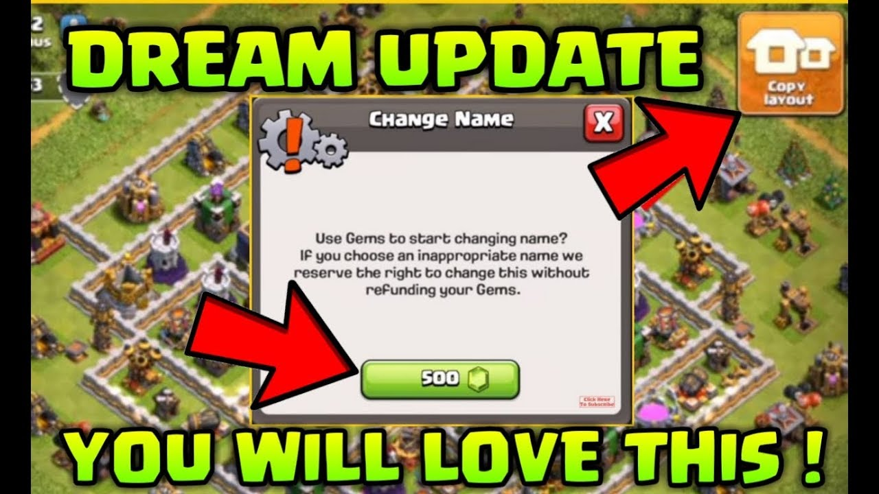 Change Name in Clash of Clans 3rd Time ! & Copy Layout Update ! Townhall 12 Update