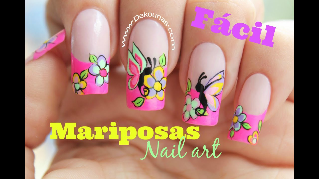 decoracin de uas facil de mariposas easy butterfly nail art youtube