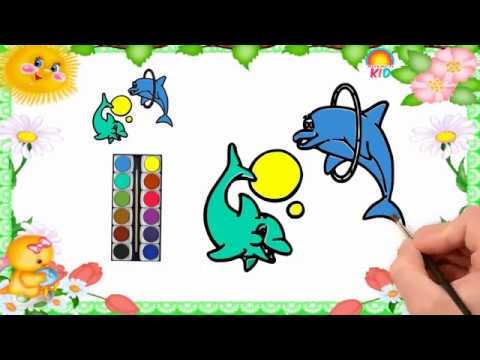 Bé Tập Vẽ Và Tô Màu  Con Cá Heo   Có Hình Tải Về   How to Draw and Color Dolphin